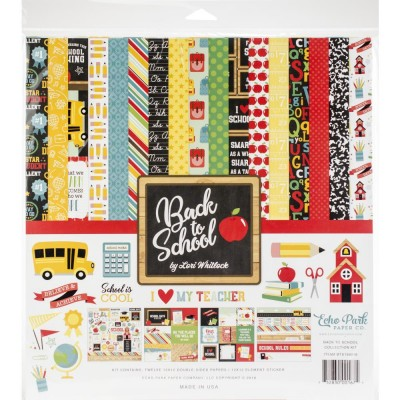 "Echo Park - Ensemble de papier 12"" X 12"" double face "" Back to School""  12 feuilles"